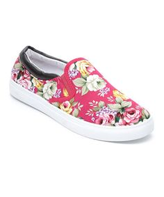 #Summer comfort with this Fuchsia Floral Slip-On Sneaker on #zulily! #zulilyfinds