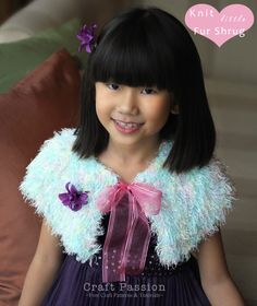 Knitting Pattern For Little Fur Shrug - Do you think M would like this in a pale blue/white fuzzy yarn?