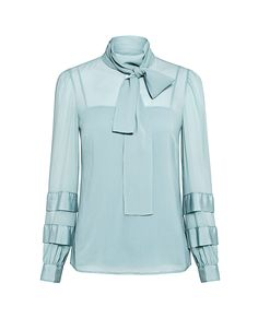 Silk Tie-Neck Blouse by Designer Red Valentino High Neck Blouse, Tie Blouse, Collar Blouse, Crop Top Shirts, Silk Ties, Blue Tops, Blouses For Women, Fashion Trends, Fashion Outfits
