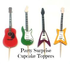 Guitar Cupcake Toppers Guitars Music Rock Band by PartySurprise