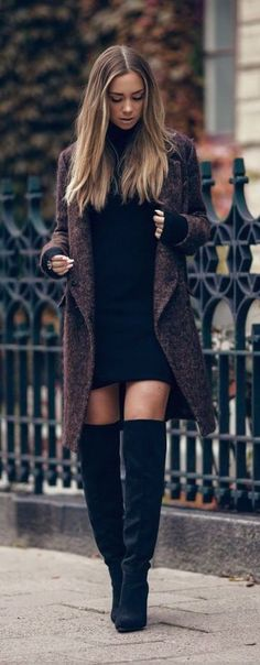 #winter #fashion / black knit dress + knee-length boots