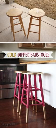 Gold Dipped Bar Stools.