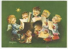 FELICITACION *FERRANDIZ* - SUBI S-1511-2 - DIPTICA 18 X 13 CM - AÑO 1958 (Postales - Navidad)
