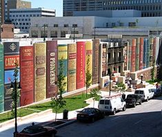 Kansas City Public Library parking garage. The 22 book titles were chosen by patrons of the librrary. Love it!