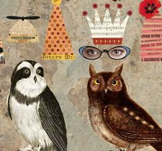 8 Vintage Wise OWL Paper DOLLS INSTANT por ARTchixStudio en Etsy