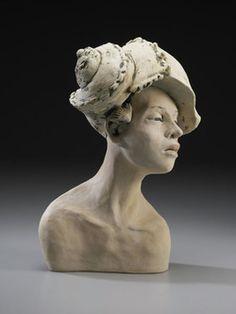 "Anna Koloseike Figurative Ceramic Sculpture, ""She Takes Her Shelter Where She Can"""