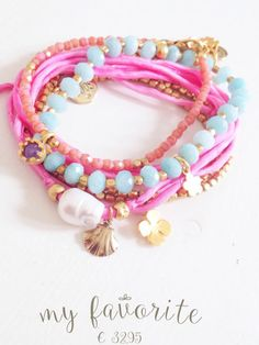 Bracelets, silk and gemstones