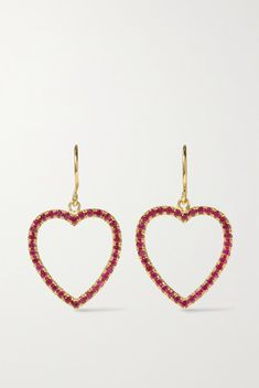 Jennifer Meyer has a special fondness for rubies - she even named her daughter after the rich red gems. Handmade from gold, these earrings are set with of the stones along the heart-shaped pendant. They're a great gift for a loved one. Jennifer Meyer, Ruby Earrings, Personal Shopping, Ear Piercings, Luxury Branding, Women Accessories, Great Gifts, Gems, Pendants