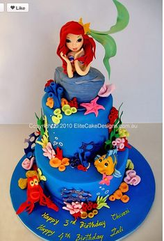 Ariel little mermaid cake