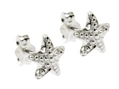 925 Sterling Silver Secure post and butterfly fitting Three dimensional starfish design Each earring in this pair of Sterling Silver .