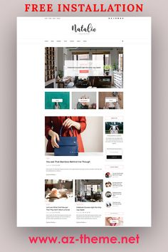 "WordPress Blog Theme for Bloggers ""Natalie"" – Feminine WordPress and Shop Theme – WordPress WooCommerce Theme – Free Installation. Purchasing this theme you take advantage of FREE SUPPORT & INSTALLATION. Message us your blog name after placing your order, we will edit the header image for you for FREE. #wordpress #blog #shop"