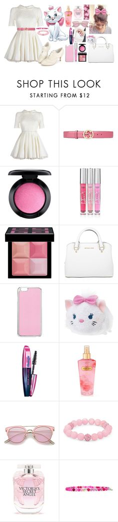 """""""Marie 💓 Aristocats 💓 Disneybound"""" by axelyamary ❤ liked on Polyvore featuring Jones + Jones, Gucci, MAC Cosmetics, Victoria's Secret, Givenchy, Michael Kors, Miss Selfridge, Disney, L'Oréal Paris and Palm Beach Jewelry"""