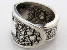 Silver Spoon Ring Size 5 Mildred Monarch by dankartistry on Etsy