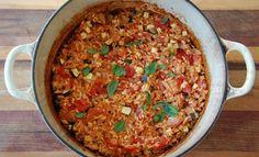 baked tuna, tomato and zucchini rice