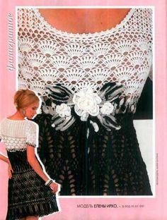 As Receitas de Crochê: Vestido bicolor em crochê