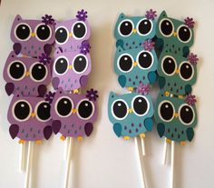 Purple and Turquoise Owl Cupcake Toppers by BNGCraftyCreations, $18.00