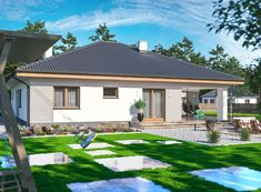DOM.PL™ - Projekt domu ARP FABIAN CE - DOM AP2-32 - gotowy koszt budowy Beautiful House Plans, Beautiful Homes, Architect House, Bungalow, Gazebo, Places To Visit, Outdoor Structures, How To Plan, House Styles