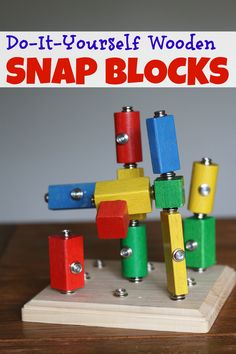 Transform ordinary wooden blocks into snap blocks with a drill and some special hardware!