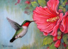 Hummingbird on canvas