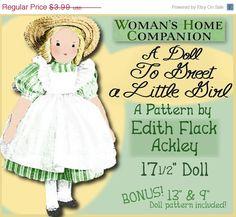 "SALE Edith Flack ACKLEY Vintage ""A Doll to Greet a Girl"" 17.5 inch Cloth Doll 1940 vintage e-pattern pdf"