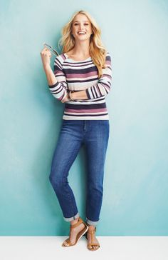 Long Sleeve Stripe Raglan Classic Ankle Jean #fun #comfortabe #denim To order this look go here: http://www.myjockeyp2p.com/jennifer