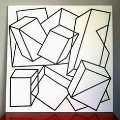 maison21 marketplace: large 4' x 4' abstract black and white painting