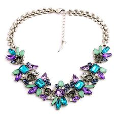 New Hot Luxury Created Crystal Flower Pendant Statement Necklace 2015 Fashion Jewelry Women Accessories, luxurious royal jewelry