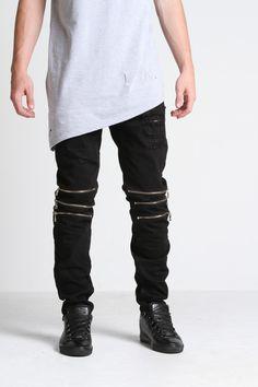 Venom Zipped Standard Denim (Black)