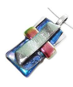 Handgemaakte glazen hanger van blauw, roze en zilver dichroide glas!