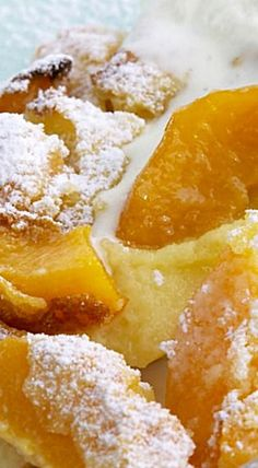 Peach Clafoutis - The batter to this French-inspired dessert becomes custard-like when baked, while the peaches become soft and bursting with sweetness. French Desserts, Köstliche Desserts, Best Dessert Recipes, Fruit Recipes, Delicious Desserts, French Recipes, Recipies, Eat A Peach, Peach Cake
