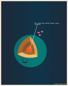 You melt my solid inner core. Nerdy Dirty - Illustrations for Nerds in Love by Nicole Martinez, via Behance Cool Poster Designs, Cool Posters, Geeks, Kawaii, Geology Humor, Nerdy Valentines, Science Valentines, Designers Gráficos, Graphic Designers