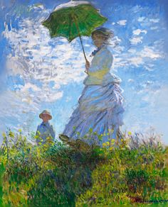 Woman with a Parasol - Madame Monet and Her Son (1875) Analysis: The Impressionist work depicts his wife Camille Monet and their son Jean Monet in the period from 1871 to 1877 while they were living in Argenteuil, capturing a moment on a stroll on a windy summer's day. Opinion: Monet's light and spontaneous brushwork create splashes of colour.
