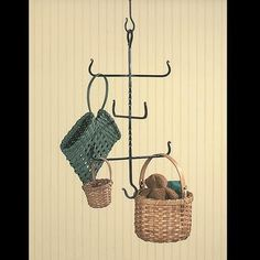 #Baskets #Hanger: Hang from this nifty idea from the blacksmiths at our forge!