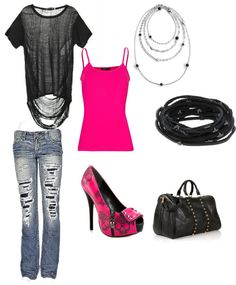 """Black and Pink"" by natherley on Polyvore"