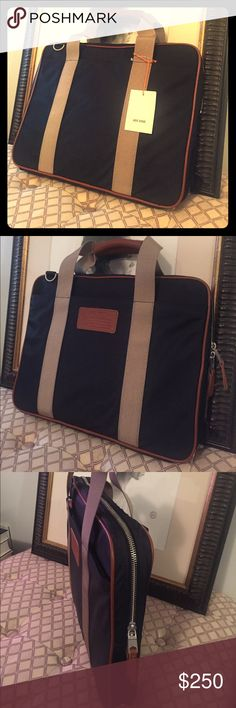 Brand New Jack Spade Briefcase Brand new, never used Jack Spade briefcase. Nylon, blue with khaki bands. Jack Spade Bags Laptop Bags
