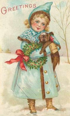 Girl and her puppy - Vintage Christmas Images   Public Domain   Condition Free By Nancy Oram