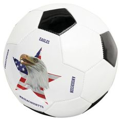 Vigilant Bald Eagle The American Flag Star Soccer Ball - tap, personalize, buy right now! #SoccerBall  #bald #eagle #united #states #flag