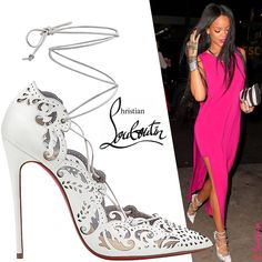 Celebrity Rihanna in Christian Louboutin White Impera Lace-up Pumps