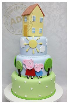 It seems that not only my son has an obsession with Peppa the Pig but also the most of toddlers I know. Bolo George Pig, Tortas Peppa Pig, Woody Cake, Pig Birthday Cakes, Birthday Stuff, 2nd Birthday, House Cake, Funny Cake, Girl Cakes