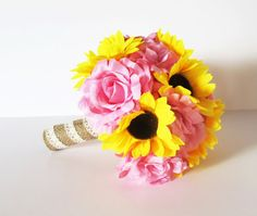 Sunflowers Roses Wedding Bouquet Bridesmaid by TheSecretGardenn