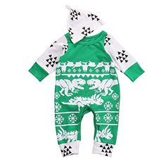 Baby Boys Girls Christmas Dinosaurs and Snowflake Print Romper with Hat (70(0-3M), Green) * You can get more details at