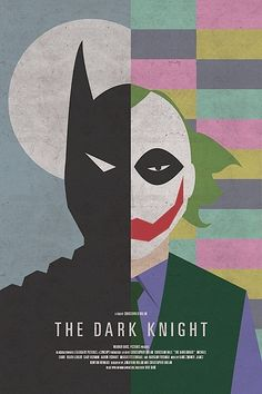 "Retro version of the recent(ish) batman film ""The Dark Knight"". Shows the two very different sides to the two main characters, while also including a subtle nod to another character from the film ""Two Face"" Best Movie Posters, Minimal Movie Posters, Movie Poster Art, Cool Posters, Print Poster, Fan Poster, Poster Wall, Posters Geek, Cinema Posters"
