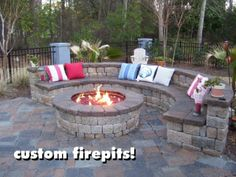 Firepit with back support...would be perfect in our backyard