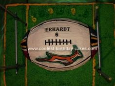 Homemade Rugby Ball Cake: My son Erhardt wanted a Rugby ball Cake for his 6th Birthday. Since he is a big fan of The South African Springbok rugby team and the player Schalk Burger,