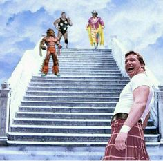 Dusty Rhodes, Macho Man Randy Savage, Ultimate Warrior and Now Hot Rod Rowdy Rowdy Piper. Gone but Never forgotten. The Ultimate Warrior, Wrestling Superstars, Wrestling Divas, Austin Wwe, Wrestling Posters, Roddy Piper, Wwe World, Horror Posters, Professional Wrestling