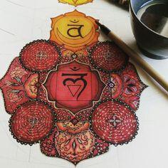 7 chakras Muladhara mandala in progress art meditation soul