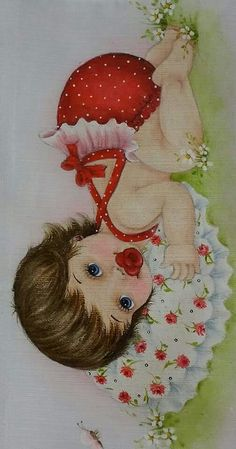 One Stroke Painting, Tole Painting, Fabric Painting, Pictures To Paint, Cute Pictures, Baby Drawing, Baby Images, Baby Art, Baby Prints
