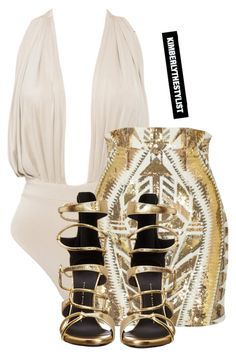 """""""Untitled #2008"""" by whokd ❤ liked on Polyvore featuring Balmain and Giuseppe Zanotti"""