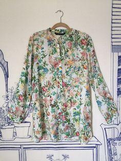 Zara Floral Botanical Printed Off White Shirt