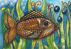 """Goldfish Under the Sea Zentangle inspired Watercolor ACEO 3-1/2 x 2-1/2"""" Fish #aceo #fish"""